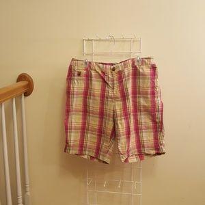 Liz Claiborne Red and Tan Multi Color Plaid Shorts
